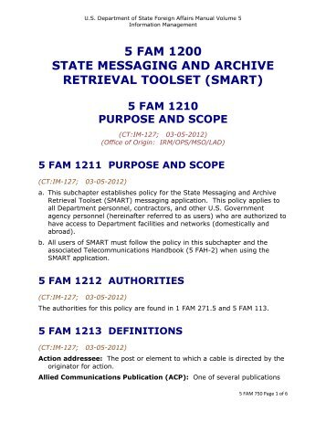 5 fam 1210 purpose and scope - US Department of State