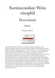 Sortimentsliste Wein vinophil - Lust auf Wein