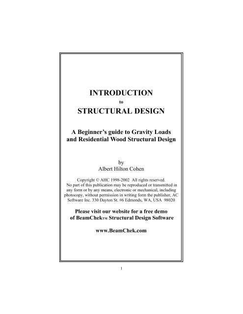 INTRODUCTION STRUCTURAL DESIGN - AC Software, Inc