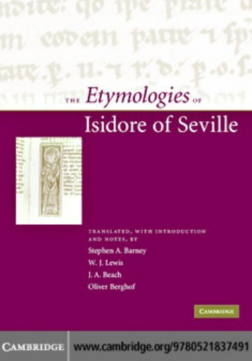 The Etymologies of Isidore of Seville - Pot-pourri