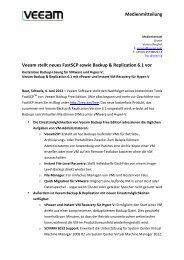 Medienmitteilung Veeam stellt neues FastSCP sowie ... - PresseBox