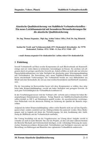 Akustische Qualitätssicherung von Stahlblech-Verbundwerkstoffen ...