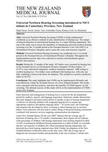 Universal Newborn Hearing Screening introduced to NICU infants in ...