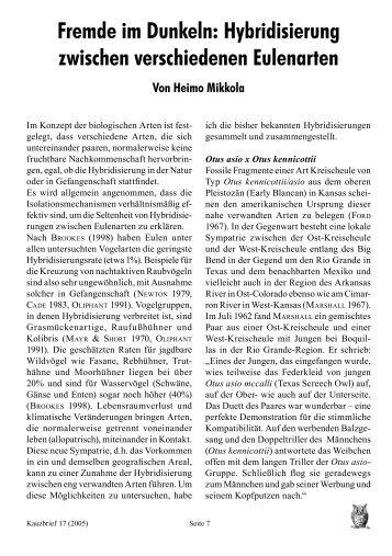 Hybridisierung zwischen verschiedenen Eulenarten - AG Eulenschutz