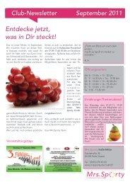 Club-Newsletter September 2011 - Mrs.Sporty