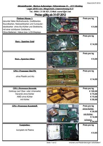 Preise gültig ab 31-07-2012