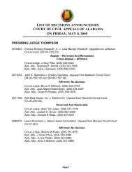 list of decisions announced by on friday, may 8, 2009 court of civil ...