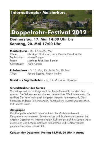 Doppelrohr-Festival 201 2 - Atelier Lohri Luzern