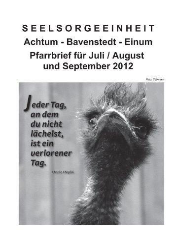 Pfarrbrief für Juli - September 2012 - Dekanat Borsum Sarstedt