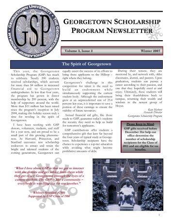GEORGETOWN SCHOLARSHIP PROGRAM NEWSLETTER