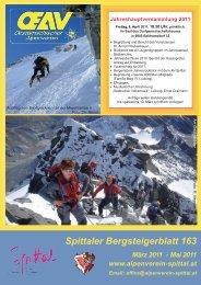 Spittaler Bergsteigerblatt 163 März 2011 - Alpenverein Spittal/Drau