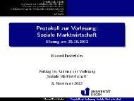 Protokoll zur Vorlesung: Soziale Marktwirtschaft - Sitzung am 25.10 ...
