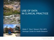 "Walter F. ""Buzz"" Stewart, PhD, MPH Geisinger Center for Health ..."