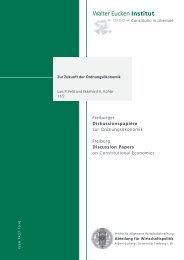Zur Zukunft der Ordnungsökonomik - Walter Eucken Institut