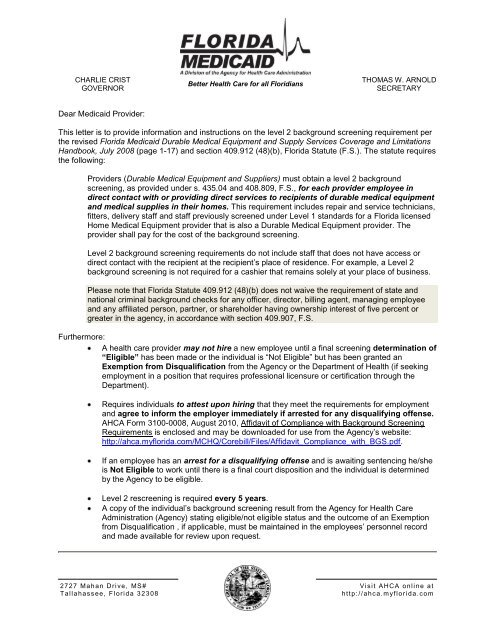 DME Level 2 Background Screening Requirement Letter