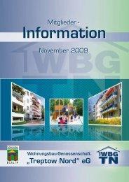 """November 2009 - Wohnungsbau-Genossenschaft """"Treptow-Nord"""" eG"""