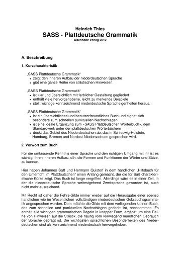 SASS - Plattdeutsche Grammatik - Sass - Plattdeutsches Wörterbuch
