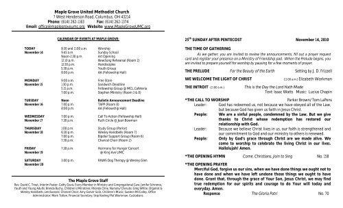 November 14 Bulletin - Maple Grove United Methodist Church