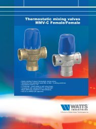 Thermostatic mixing valves MMV-C Female/Female - Watts Industries