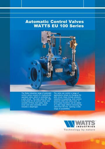 Automatic Control Valves WATTS EU 100 Series - Watts Industries