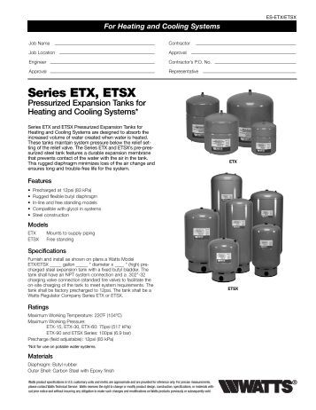 Series ETX, ETSX Pressurized Expansion Tanks For Heating
