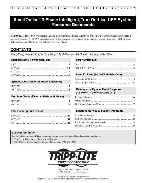 SmartOnline™ 3-Phase Intelligent, True On-Line UPS     - Tripp Lite