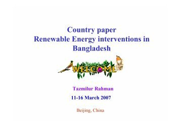 Country paper Renewable Energy interventions in Bangladesh