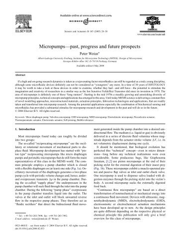 Micropumps—past, progress and future prospects