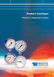 Product Catalogue - Pressure & Temperature ... - Watts Industries