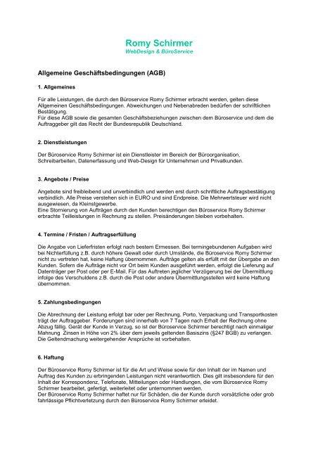 Romy Schirmer R Schirmer Webdesign Büroservice