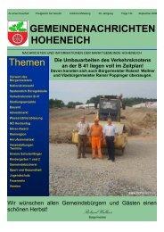 Themen GEMEINDENACHRICHTEN ... - Marktgemeinde Hoheneich