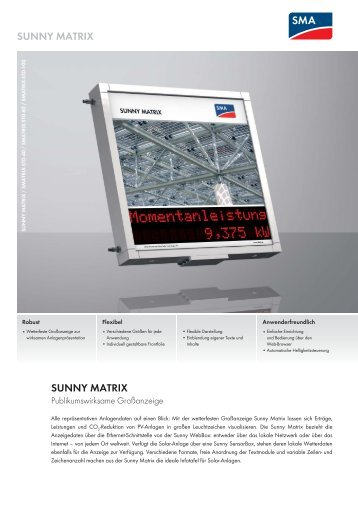 SUNNY MATRIX - SMA Solar Technology AG