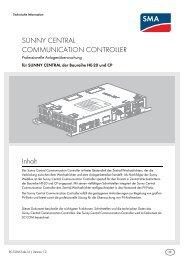 SUNNY CENTRAL COMMUNICATION CONTROLLER - SMA Solar ...