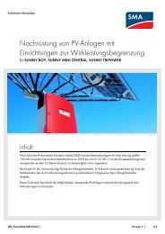 Nachrüstung von PV-Anlagen mit Einrichtungen - SMA Solar ...