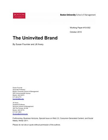 The Uninvited Brand - Boston University