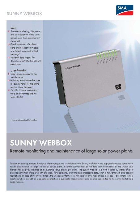 SUNNY WEBBOX - Remote monitoring and     - Silektro cz