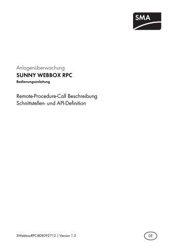 SUNNY WEBBOX RPC - SMA Solar Technology AG