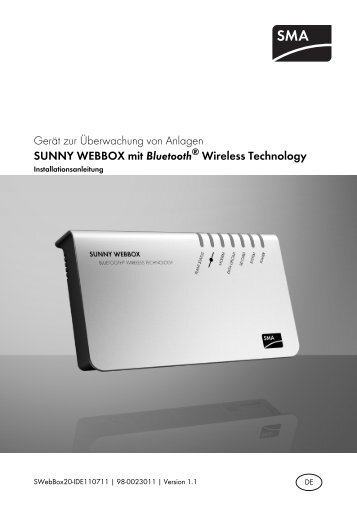 SUNNY WEBBOX mit Bluetooth® Wireless Technology - SMA Solar ...