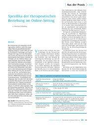Spezifika der therapeutischen Beziehung im Online-Setting