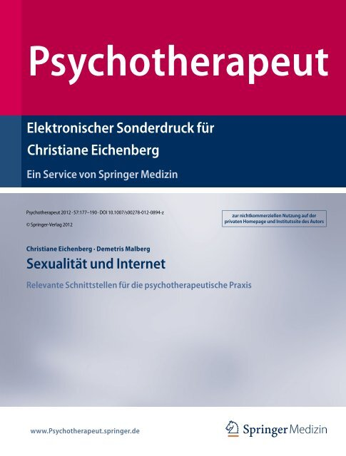Elektronischer Sonderdruck für Sexualität und Internet Christiane ...