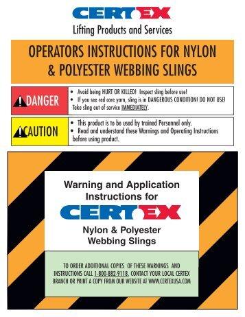 operators instructions for nylon & polyester webbing slings