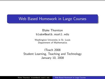 Thornton, Web-Based Homework PowerPoint Slides - i teach ...