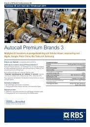 Autocall Premium Brands 3 - RBS - Sweden