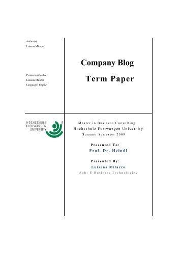 Company Blog Term Paper - Hochschule Furtwangen