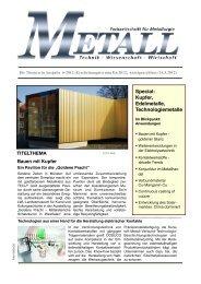 Special: Kupfer, Edelmetalle, Technologiemetalle - Metall-web.de