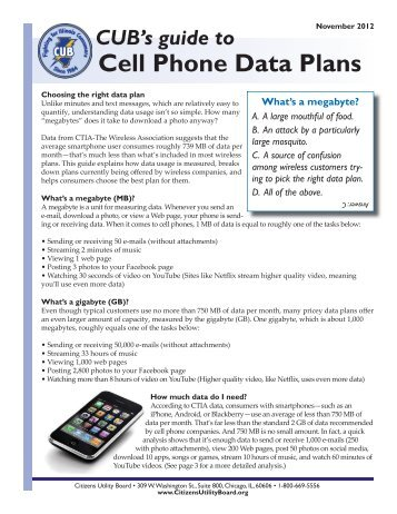CUB's Guide To Cell Phone Data Plans - Citizens Utility Board