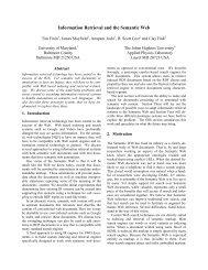 Information Retrieval and the Semantic Web - UMBC