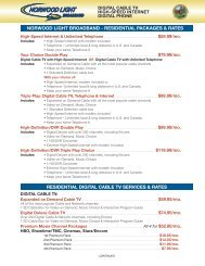 NORWOOD LIGHT BROADBAND - RESIDENTIAL PACKAGES ...