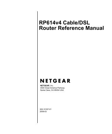 RP614v4 Cable/DSL Router Reference Manual - Netwood ...