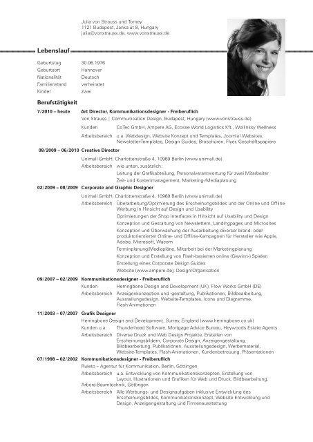 Lebenslauf Von Strauss Communication Design